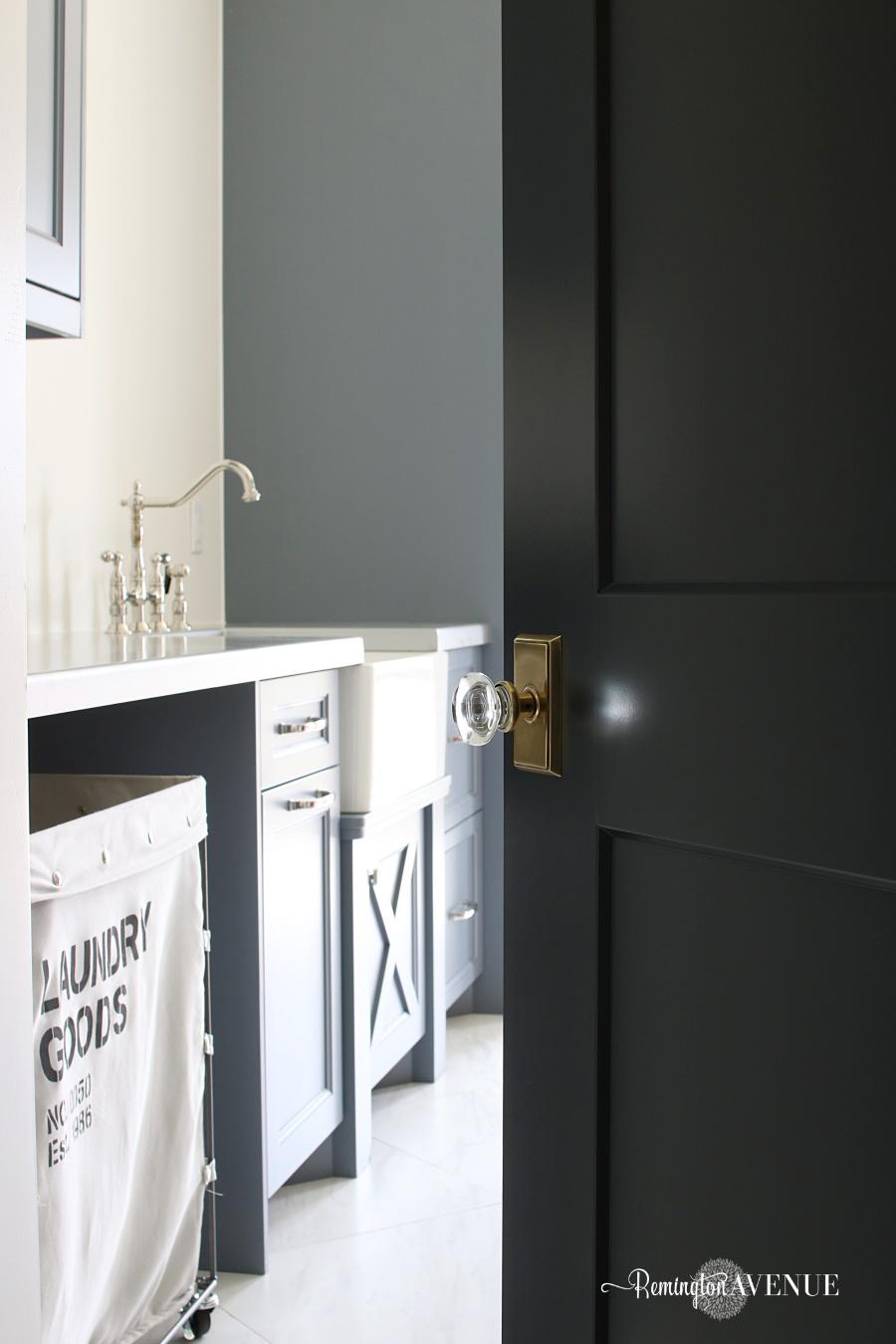 White Interior With Dark Painted Doors Black