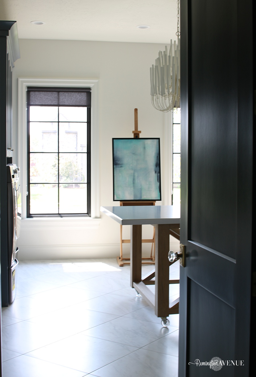 white interior with dark doors- black doors