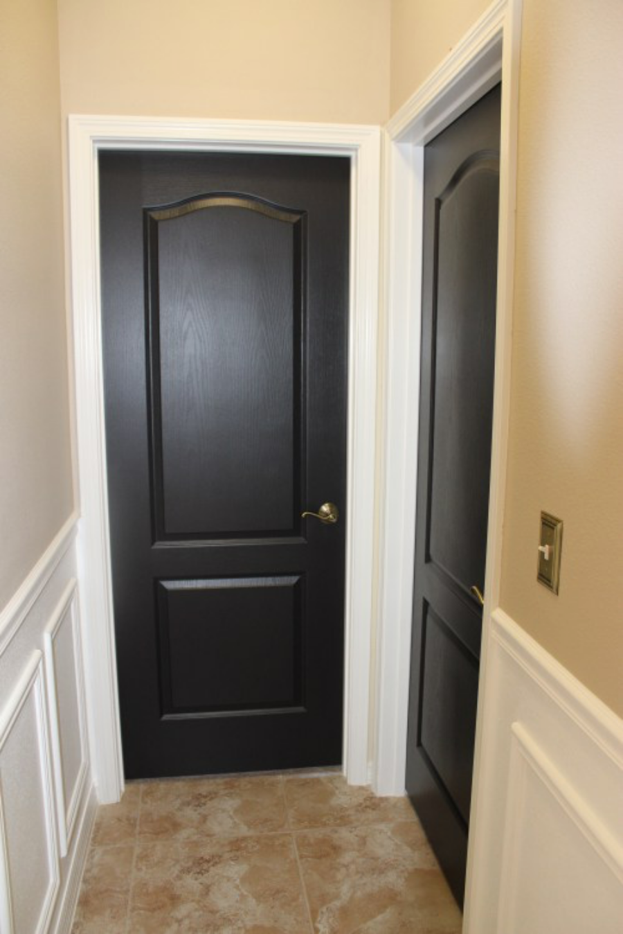 White Interior With Dark Doors Builder Grade Painted Black 1