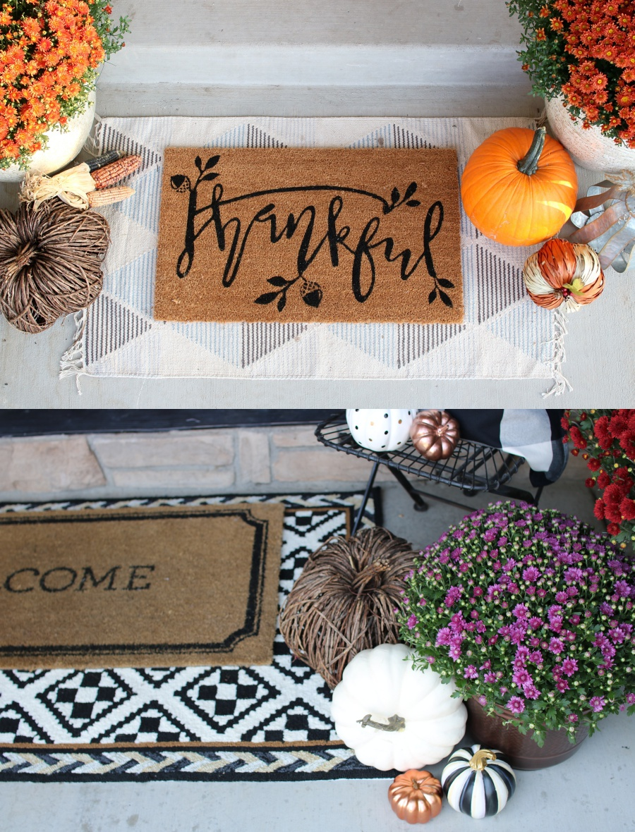 5 must haves for you fall front porch - layered door mats