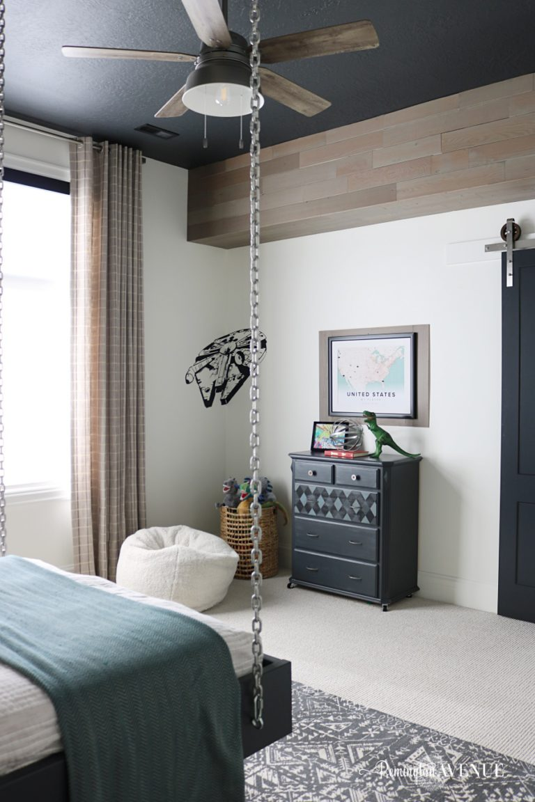 Industrial Boys Bedroom with Wood and Metal Accents