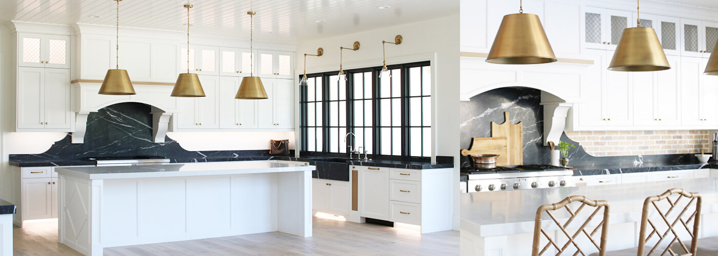 French Country Modern Kitchen with Black Marble Counters Remington Avenue