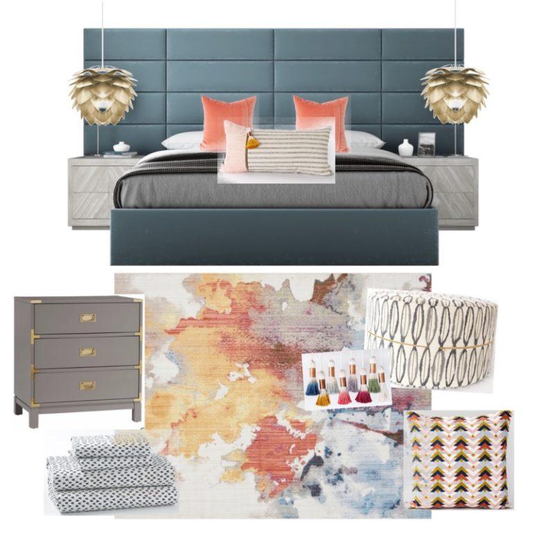 Modern colorful bedroom design