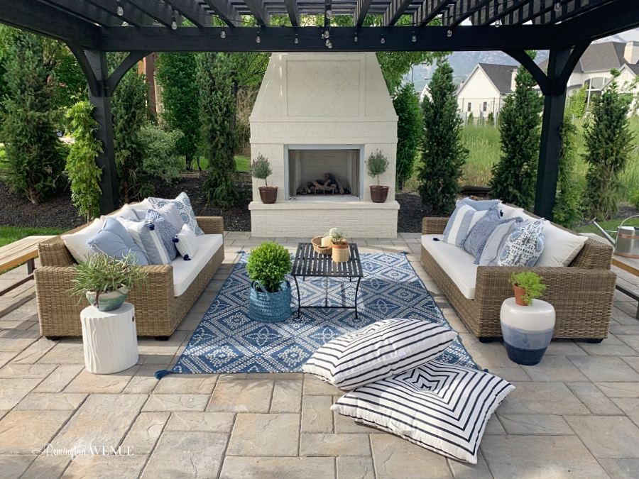 Blue French Country Patio