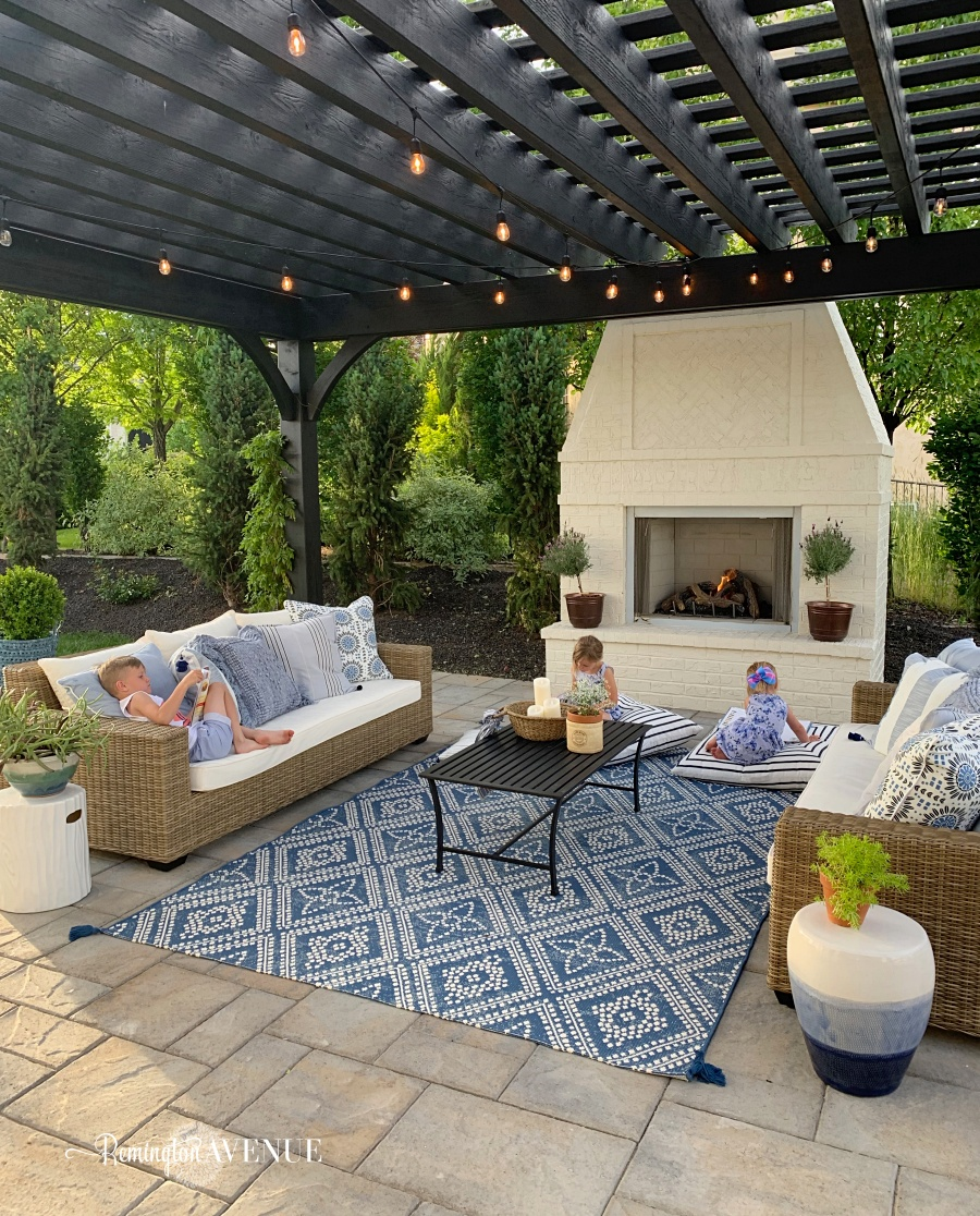 French Country Modern Patio Reveal with Pops of Blue