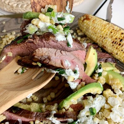 Grilled Flank Steak, Charred Corn & Avocado Salad