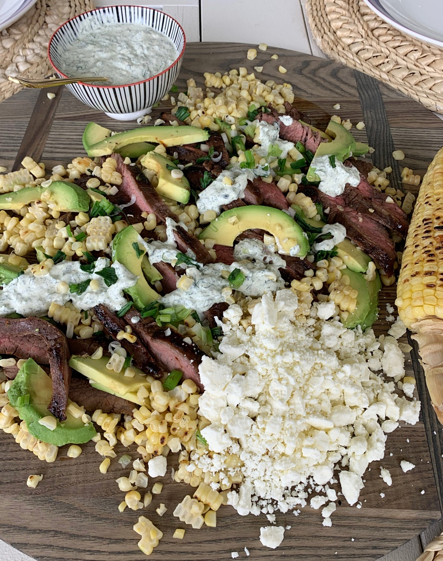 Grilled Flank Steak, Charred Corn & Avocado Salad