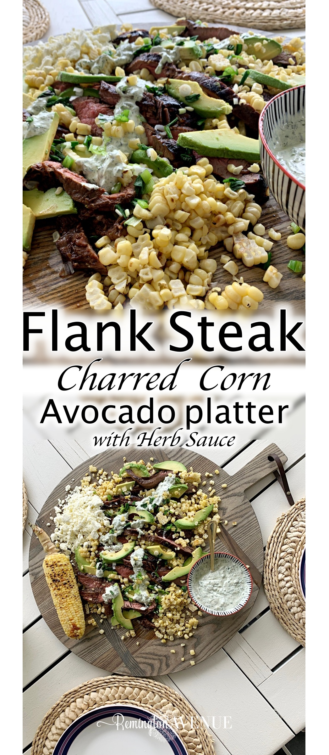 Grilled Flank Steak, Charred Corn & Avocado Salad with a creamy herb sauce