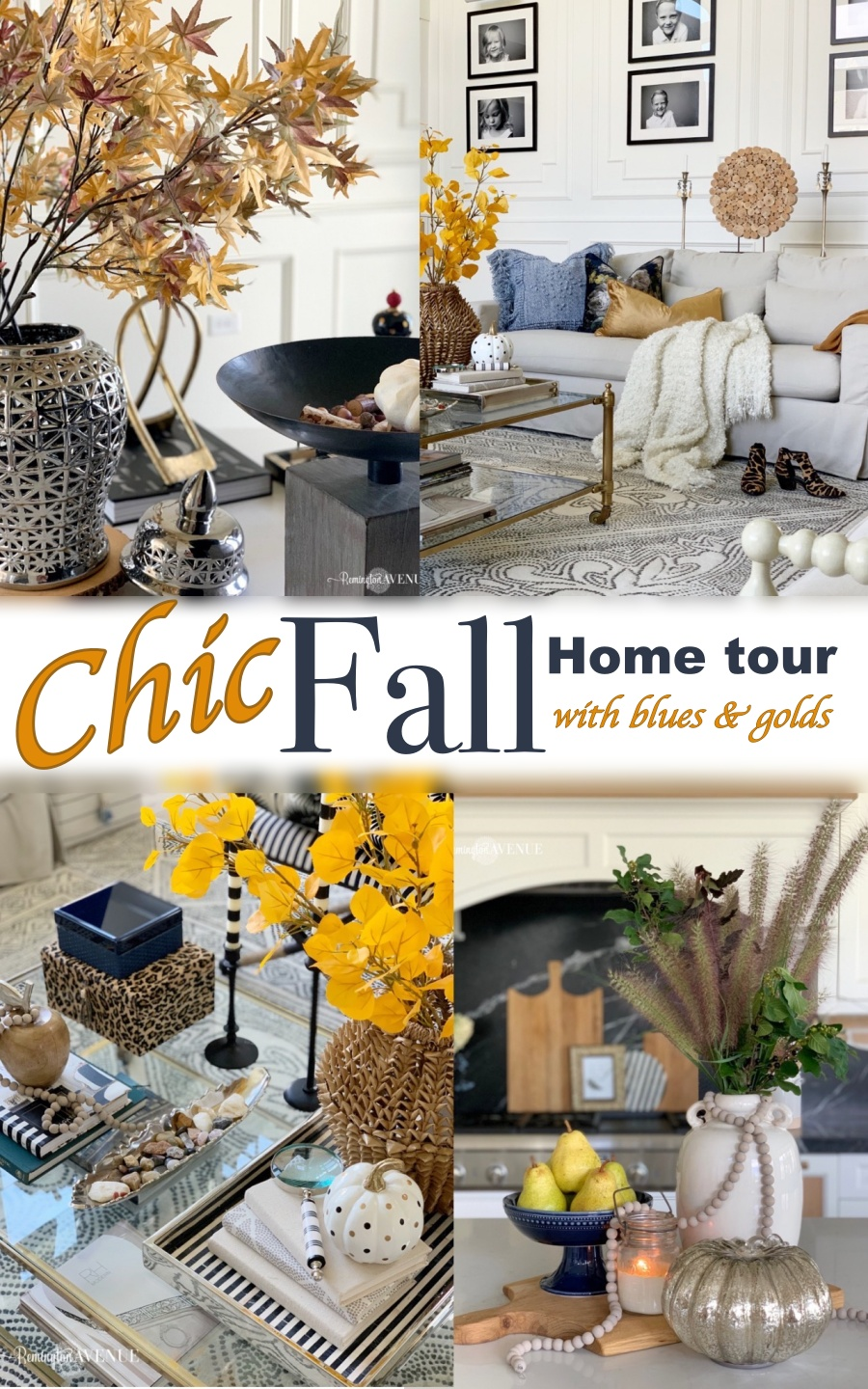 Chic Fall decorating with blue and gold