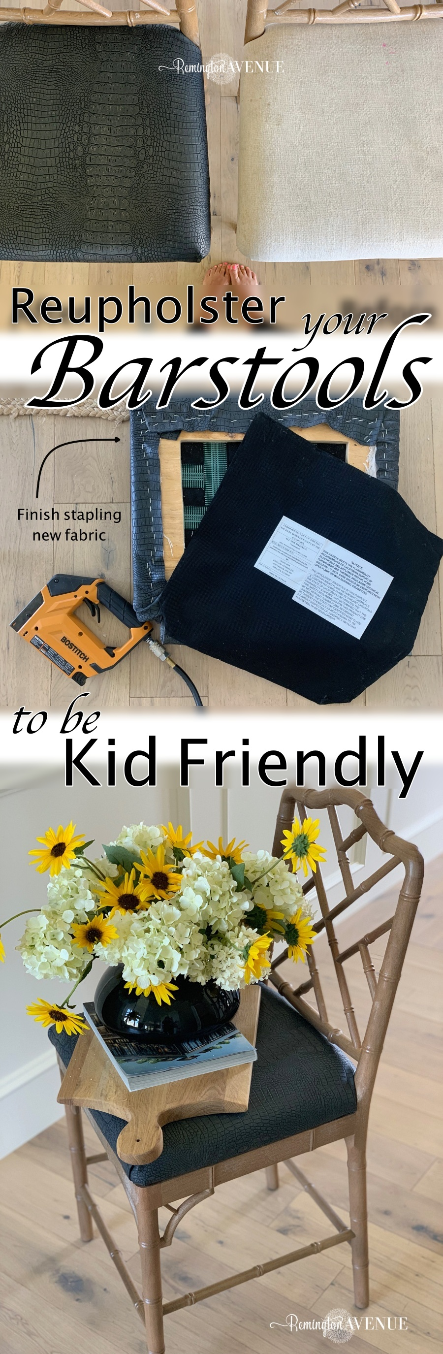 how to reupholster your barstools to be kid friendly