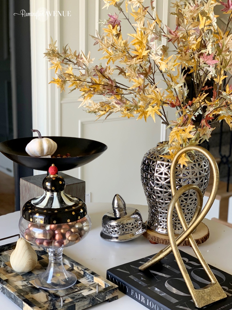 fall decorating with blues and golds - entry table decor