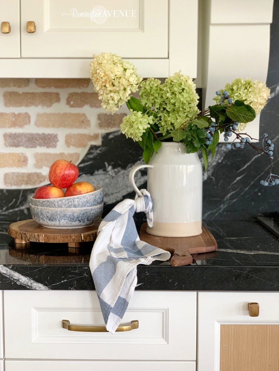 fall decorating with blues and golds- fall vignette