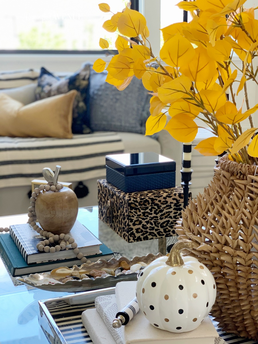 fall decorating with blues and golds - coffee table styling
