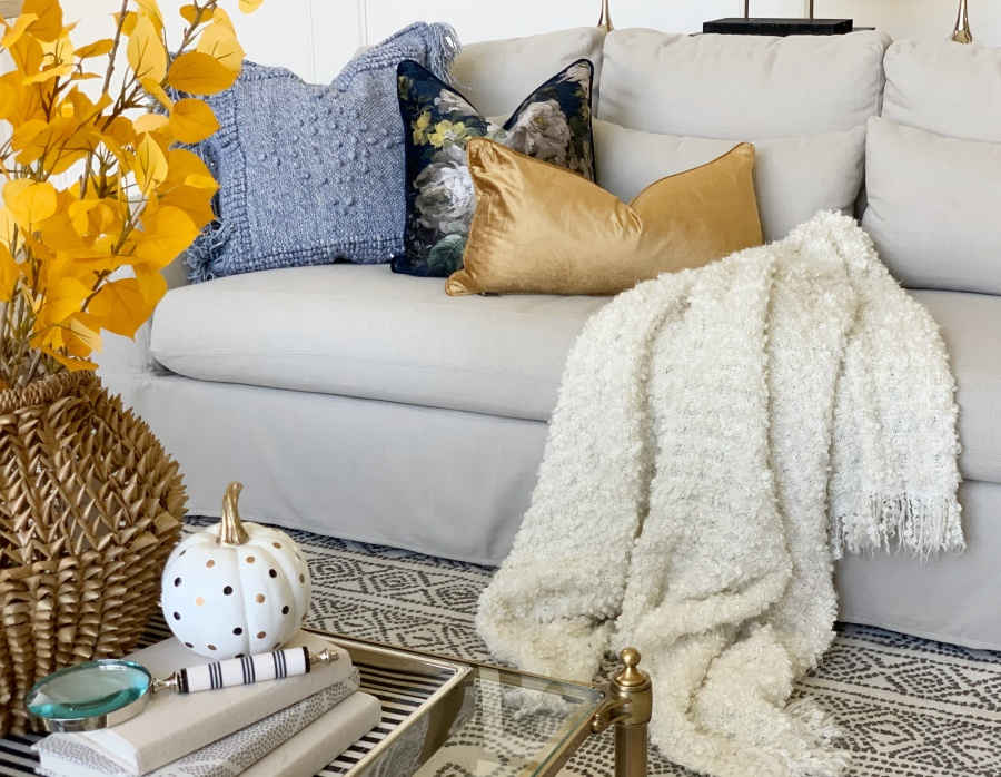 fall decorating with blues and golds