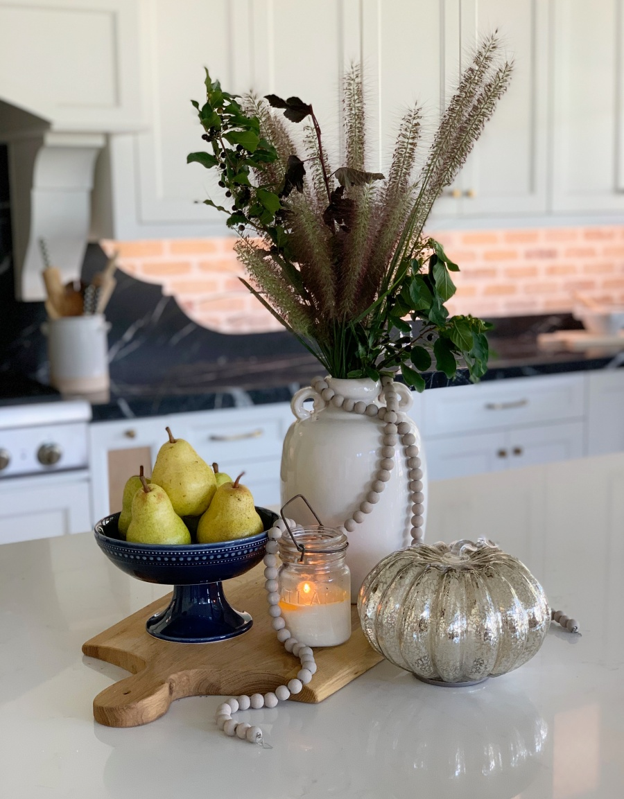 fall decorating with blues and golds- kitchen fall vignettes