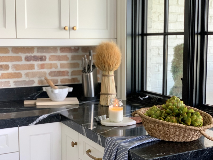 fall decorating with blues and golds - kitchen styling