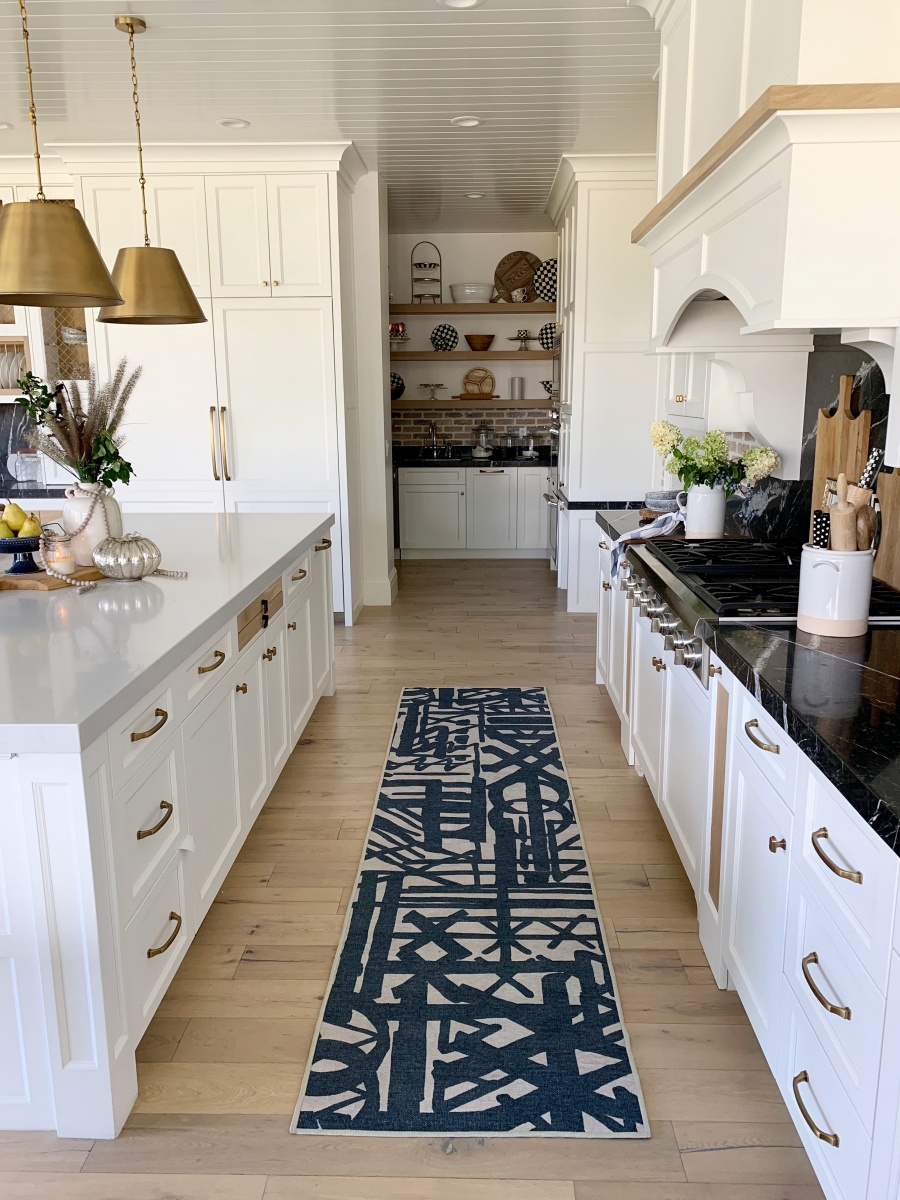 fall decorating with blues and golds - fall kitchen