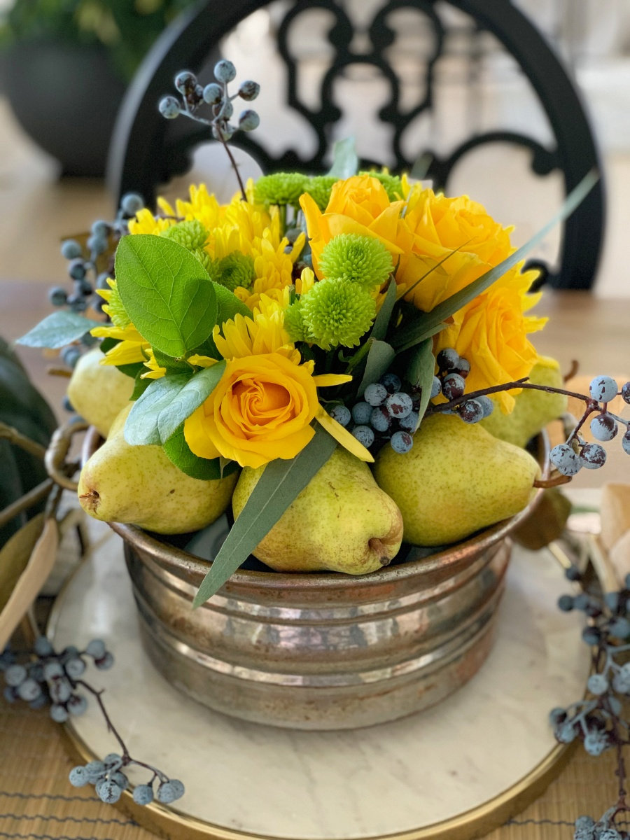 fall decorating with blues and golds - table centerpiece