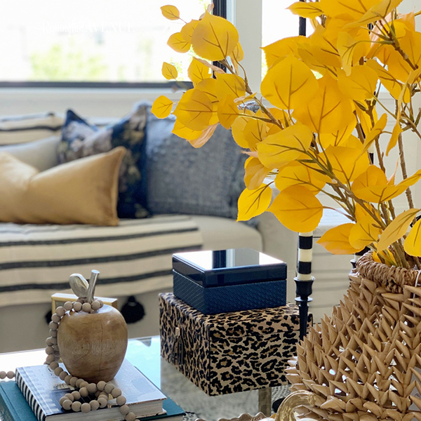 Fall decorating with Blue and Gold