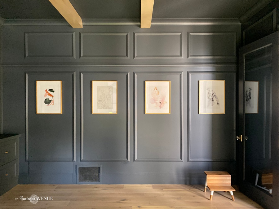 art gallery with brass frames