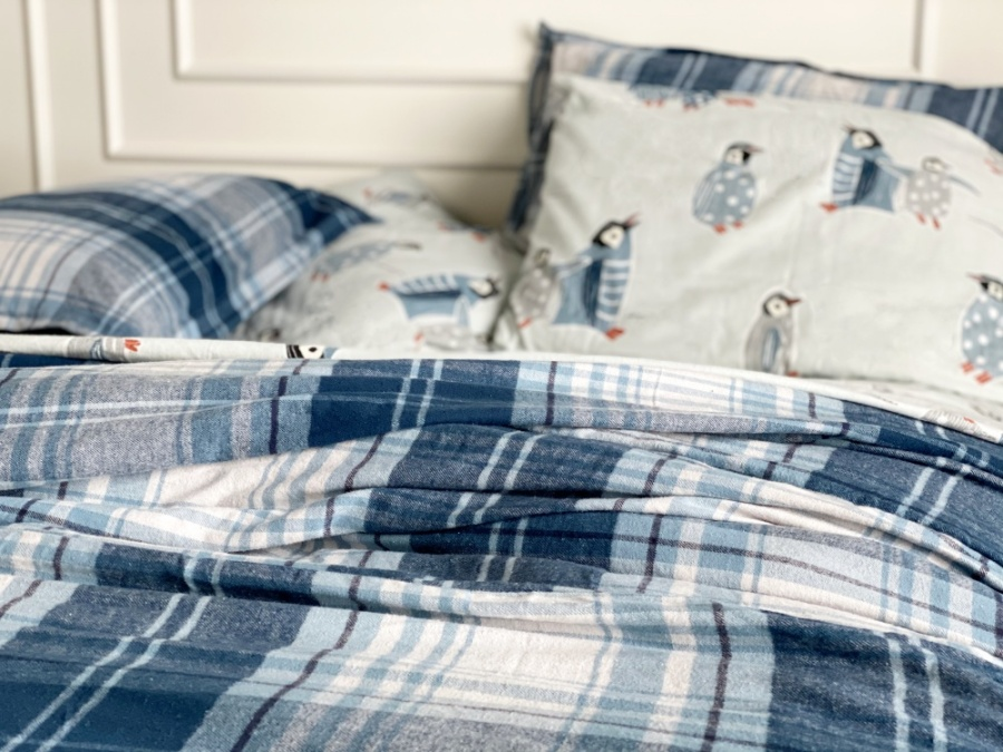 plaid flannel fall bedding with peguin sheets