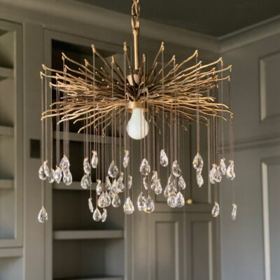 masculine/feminine office chandelier