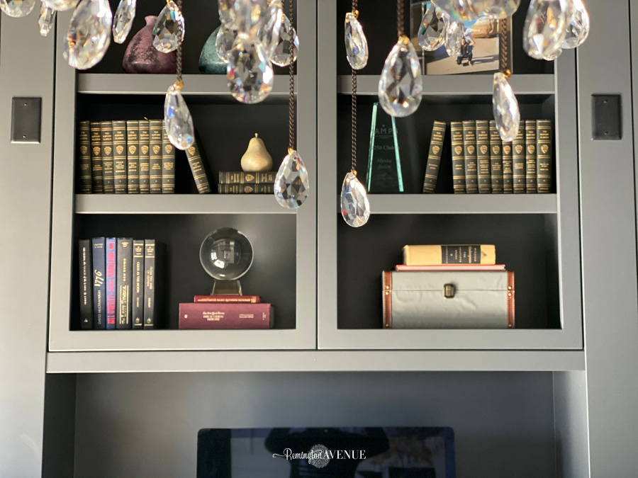office shelf styling- Harvard classics
