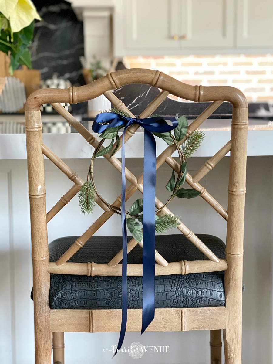 wreath on kitchen barstool backs