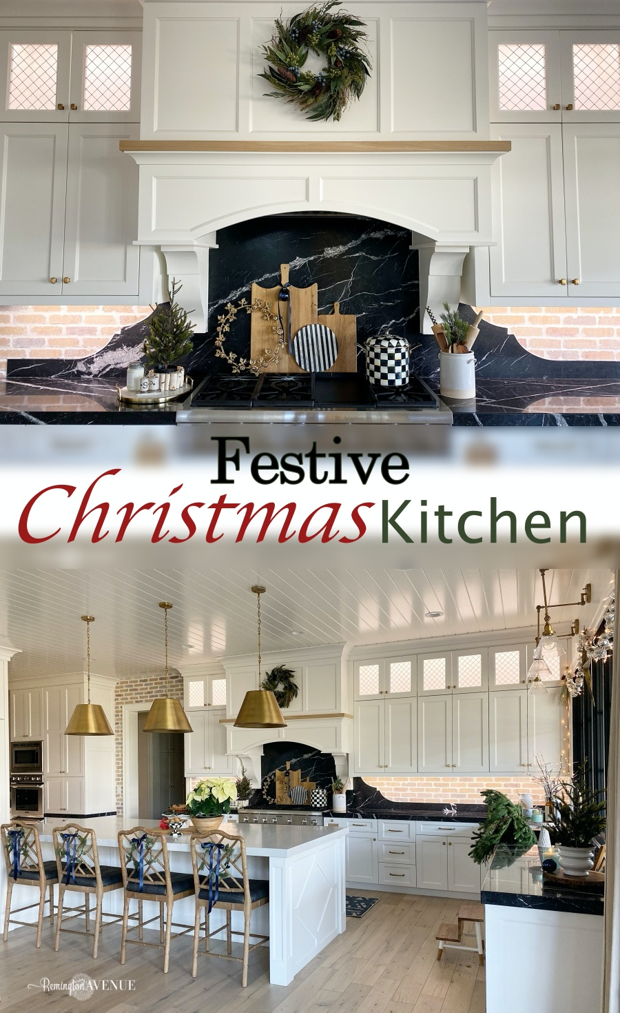 Festive christmas kitchen with fresh greens