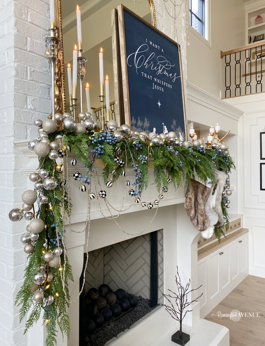 blue and metallic Christmas mantel