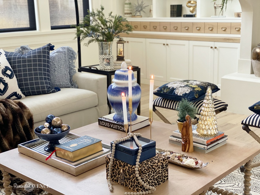 holiday living room-blue and metallics