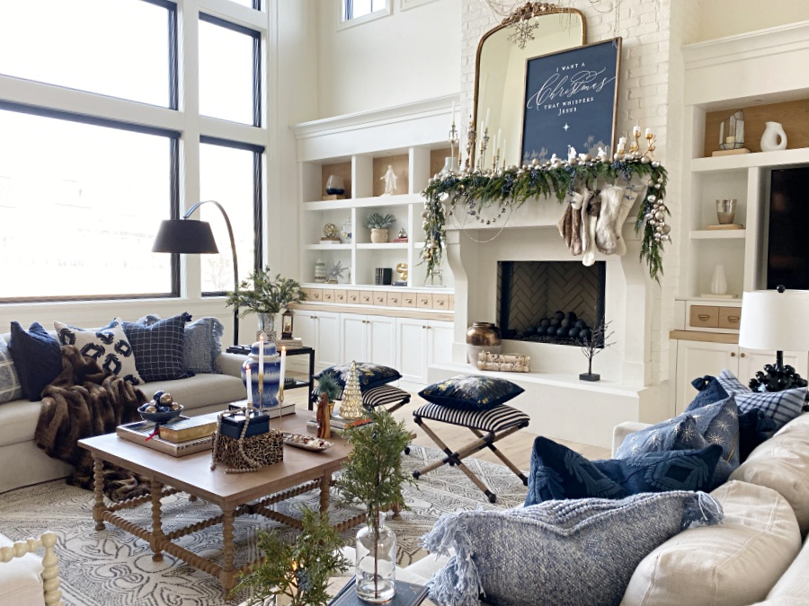 holiday living room with blue and mettalics