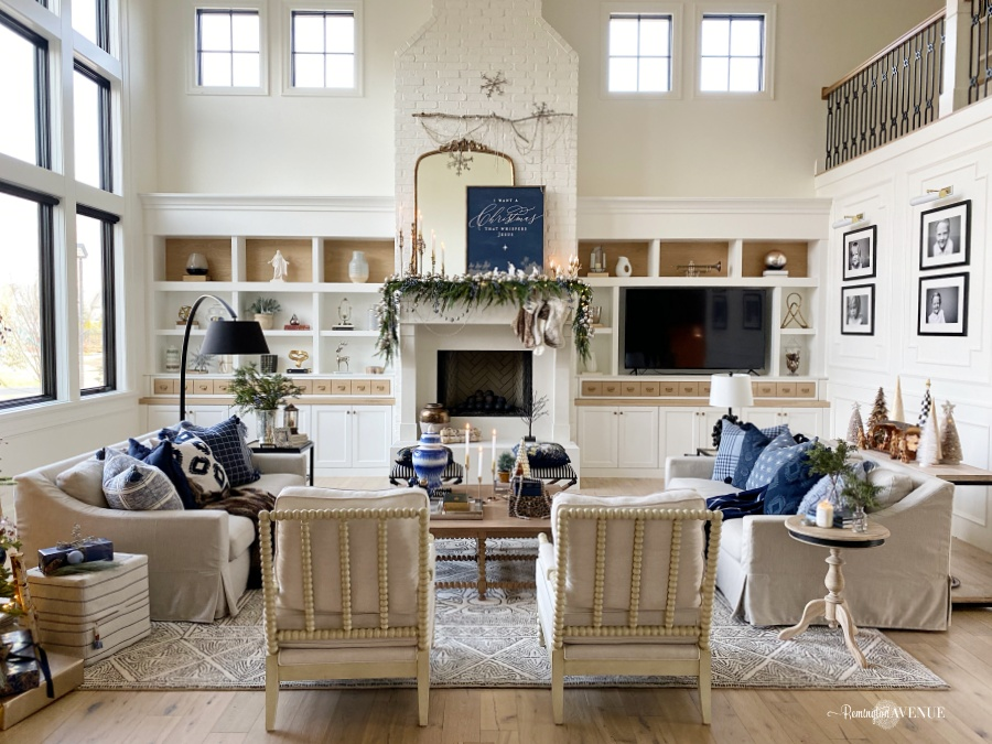 holiday living room- blue and metallic decor