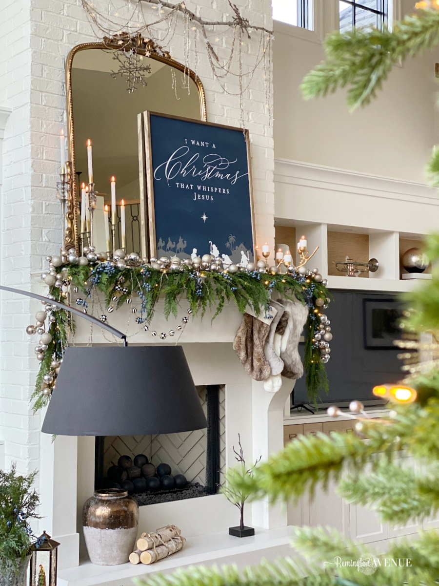 holiday living room- blue mantel decor