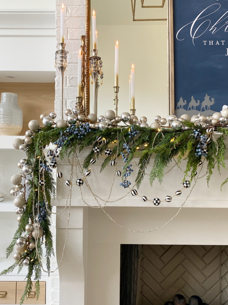 layered garlands with pops of blue