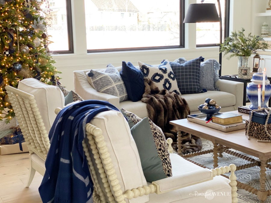 christmas living room with blue and metallics