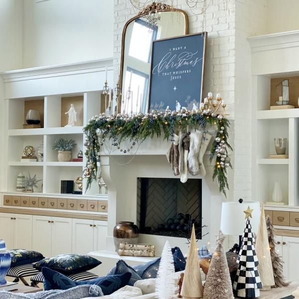 Holiday living room- blue and metallics