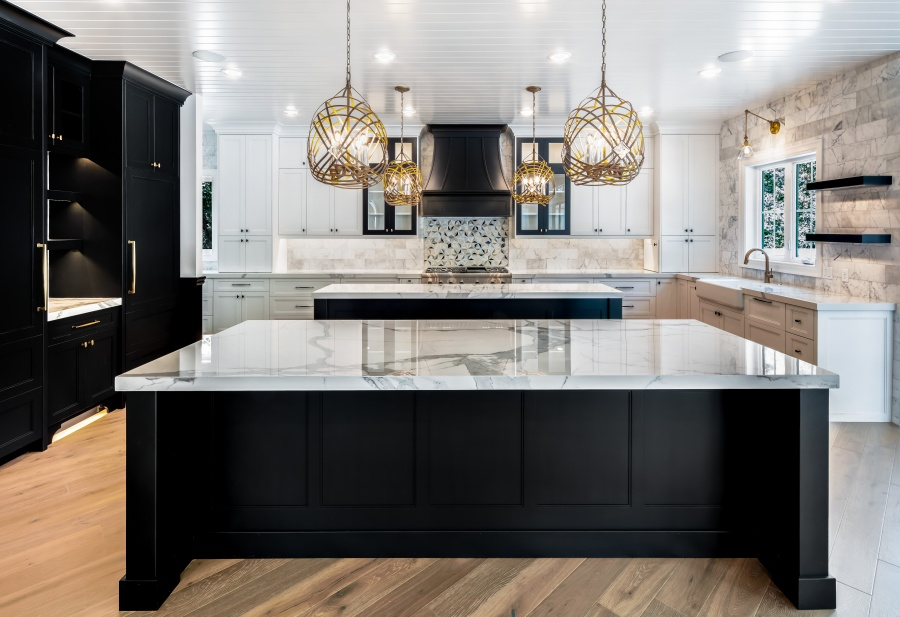 black and white glam kitchen with double islands