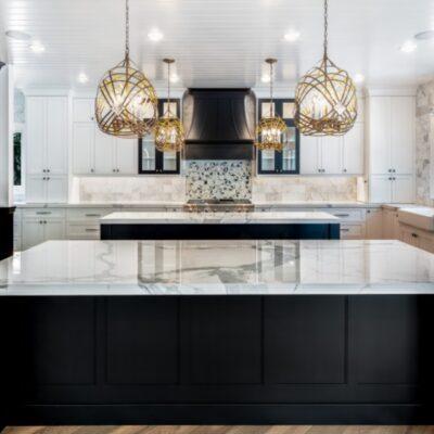 glamorous black and white kitchen