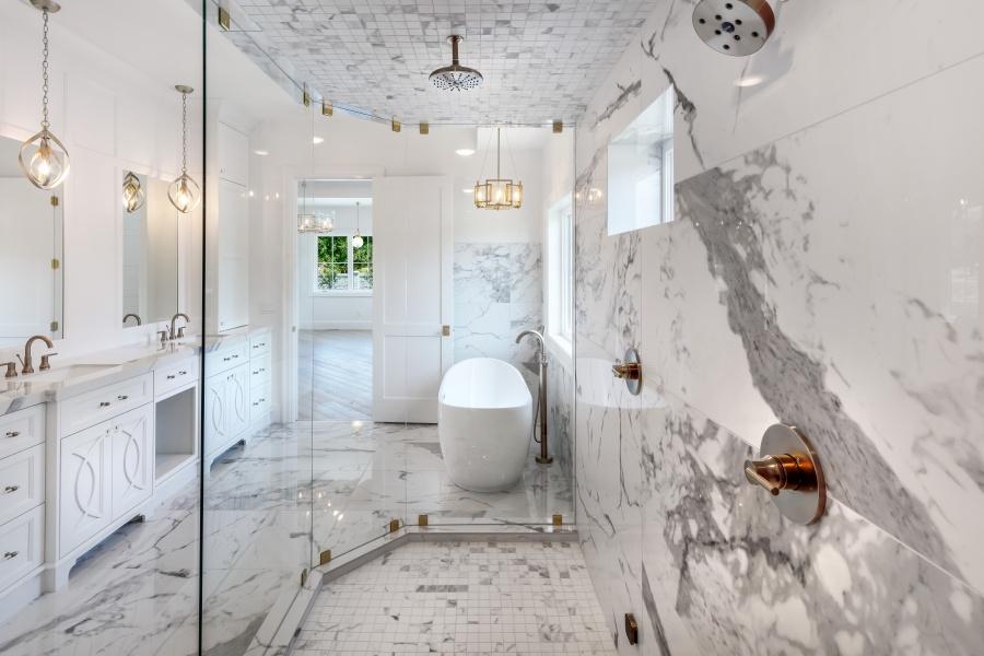 glam modern marble master bathroom