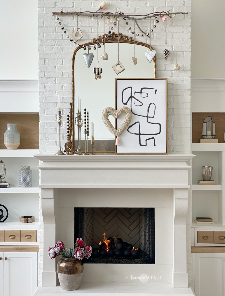 chic and whimsical valentines day mantel