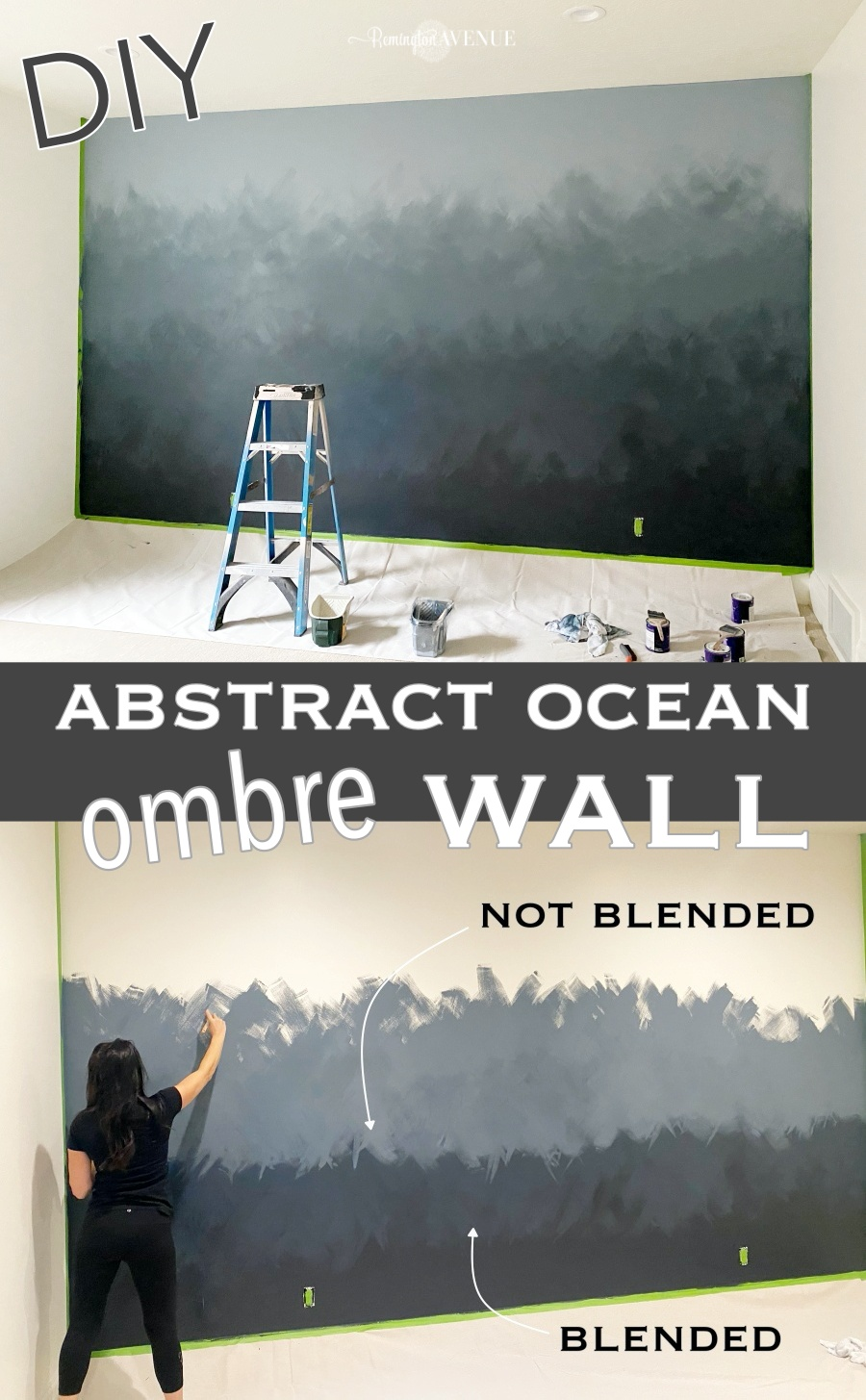 diy abstract ocean ombre wall tutorial