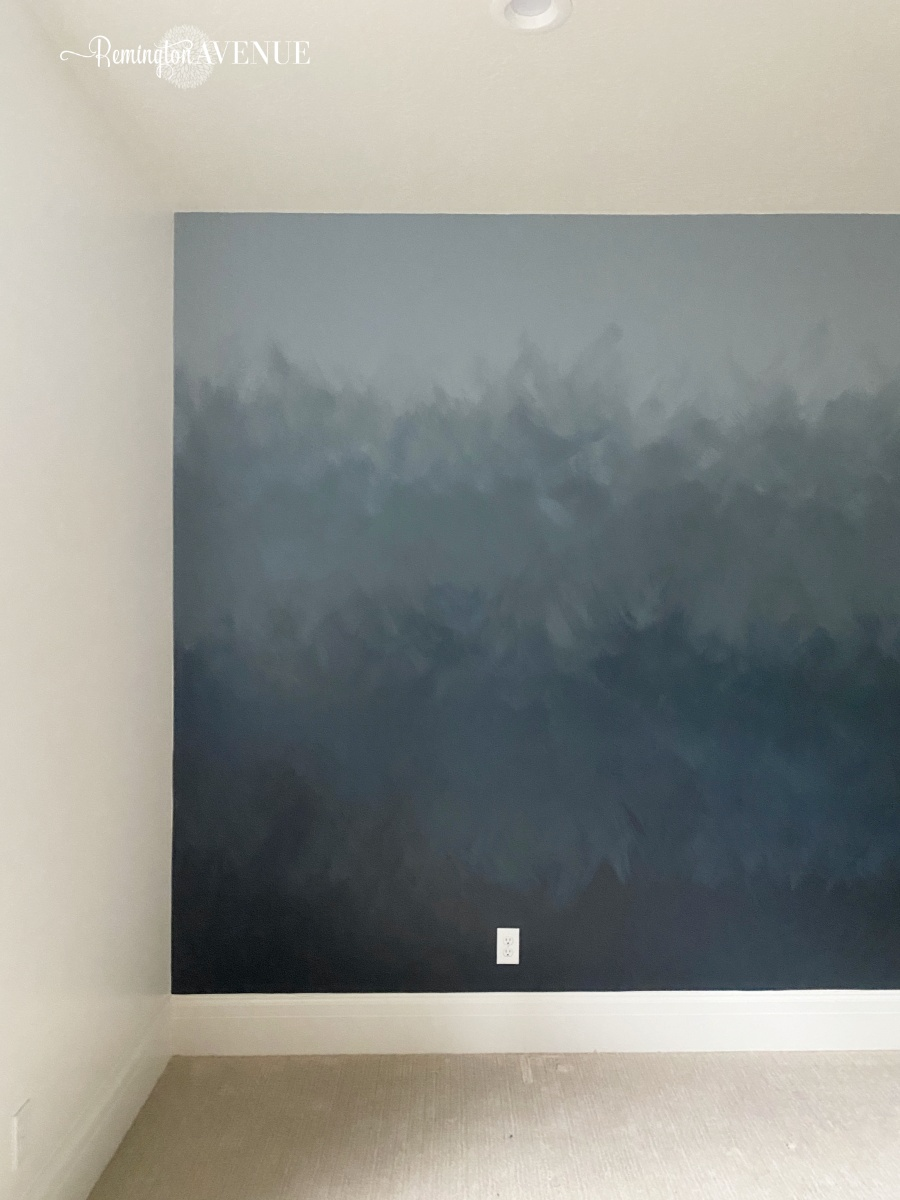 diy ombre ocean accent wall with brush strokes