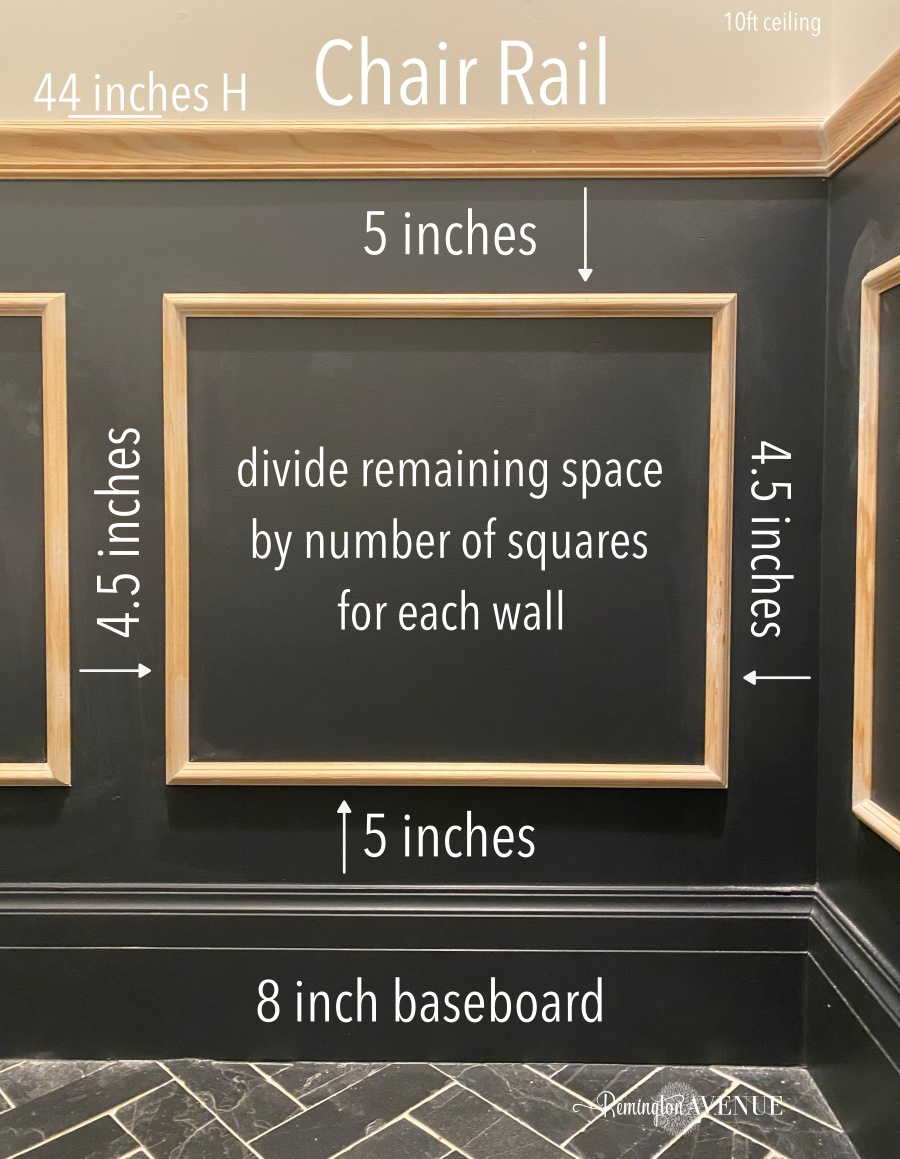 diy wainscoting measurements- applied molding boxes