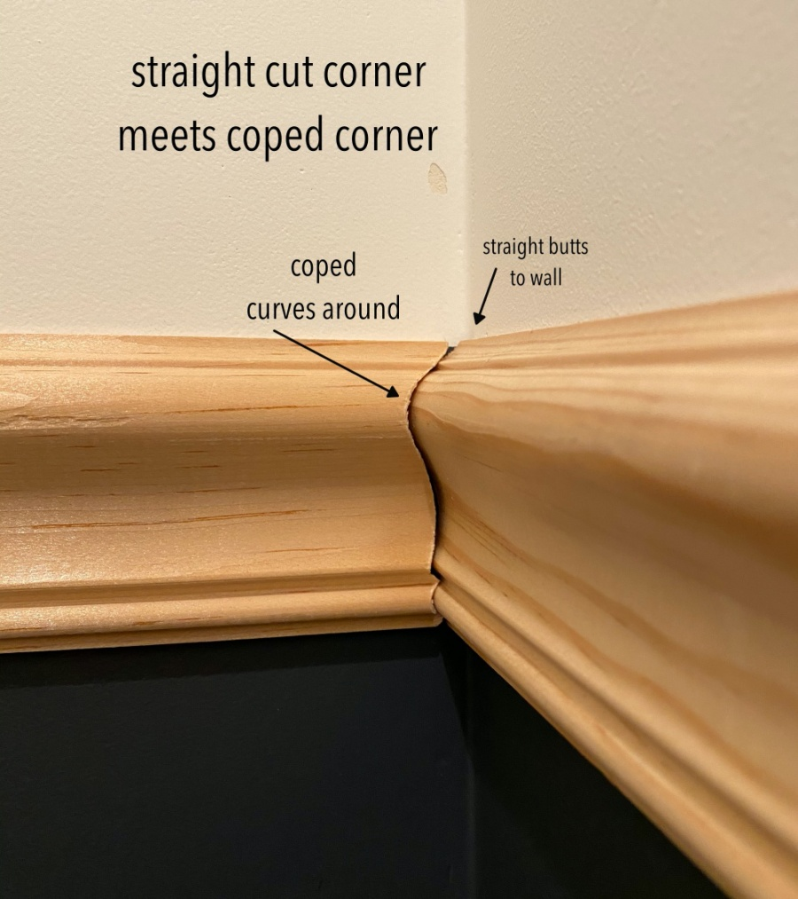 coped inside corners on chair rail