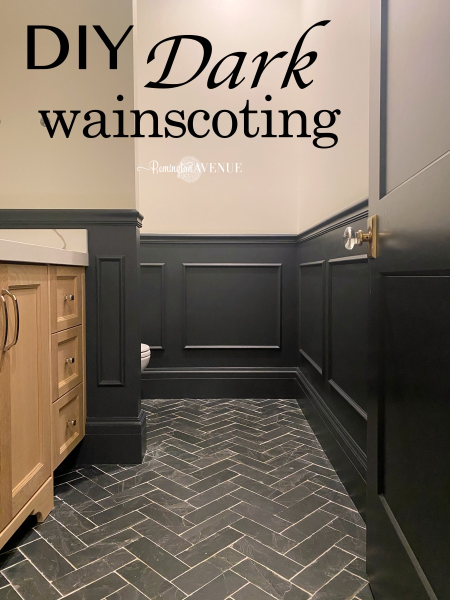 diy dark wainscoting- applied molding boxes to wall