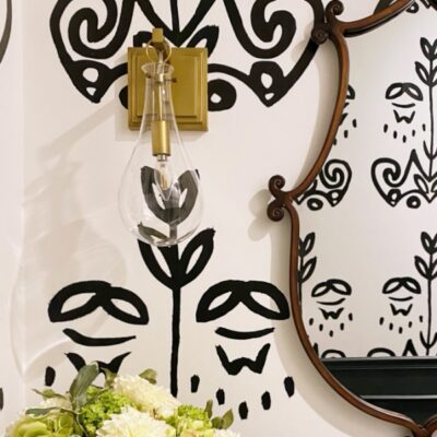 black and white powder room reveal DIY