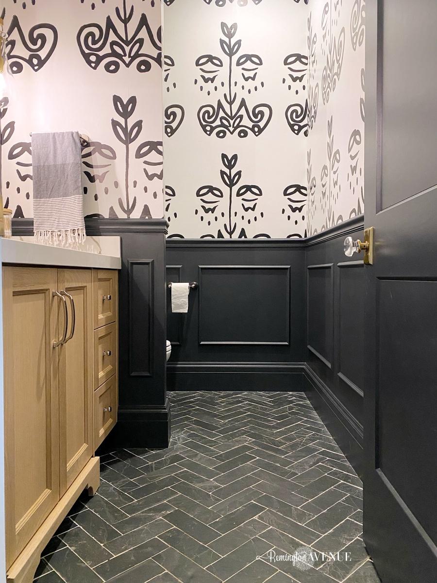 black and white powder bathroom diy