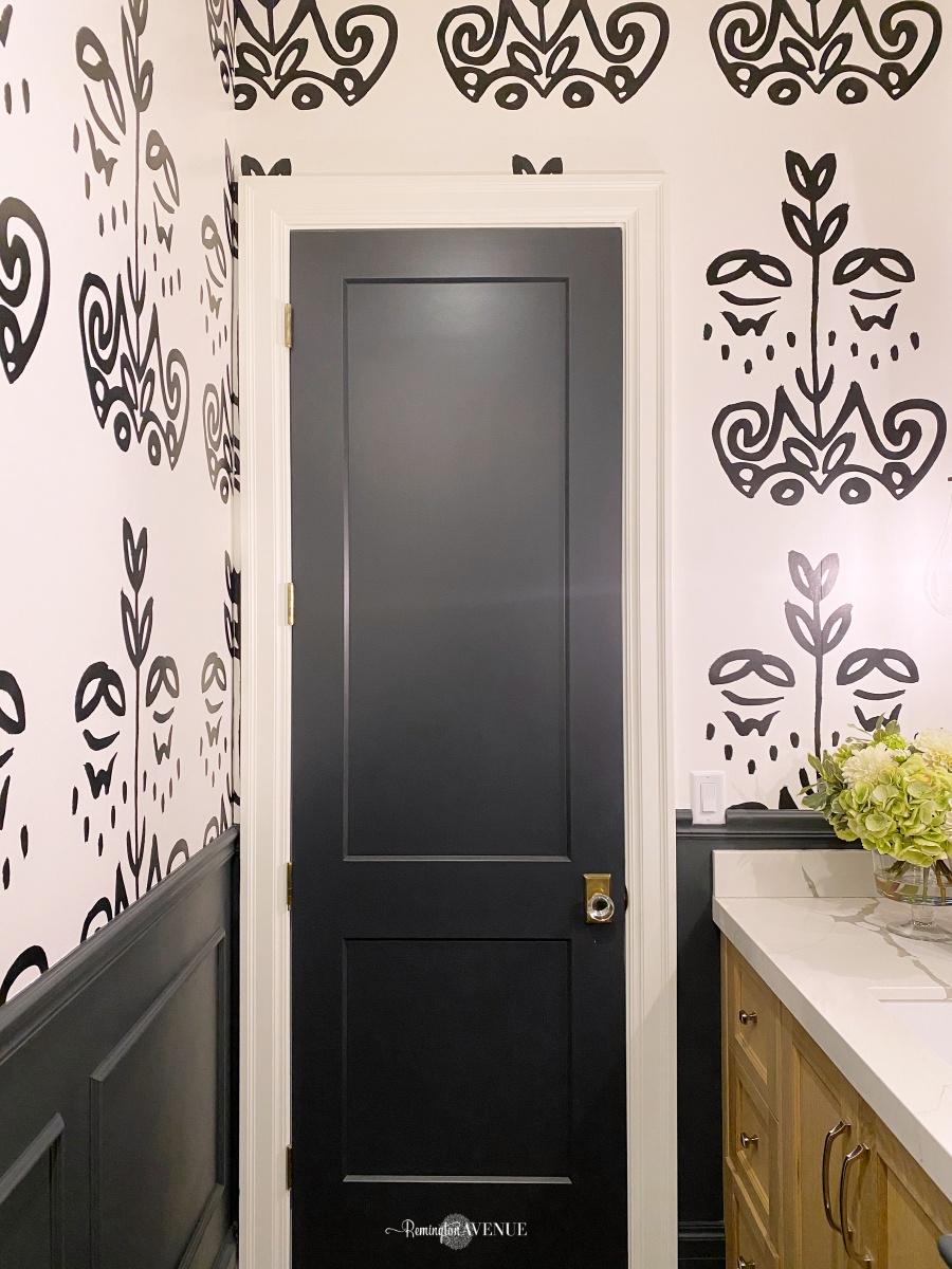 diy black and white powder room reno