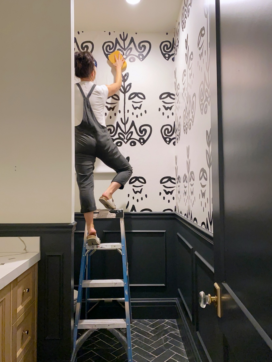 diy black and white wallpaper